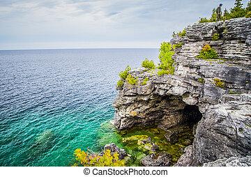 kanada, ivrig, ontario, grotta, scenisk, georgiansk, synen, ...