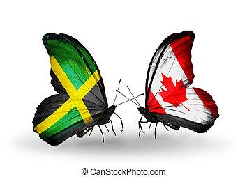 kanada, jamaika, symbol, zwei, verwandtschaft, vlinders,...