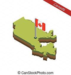 kanada karte, isometrisch, illustration., flag., vektor