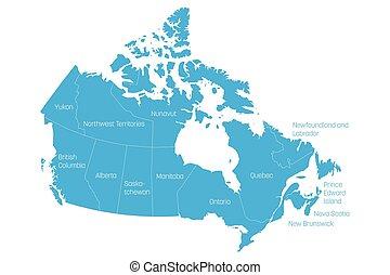 kanada karte, provinzen, 10, geteilt, blaues, territories., labels., gebiete, 3, vektor, abbildung, canada., administrativ