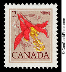 kanada, kolombine, zirka, briefmarke, reihe, -, 1977, flower...
