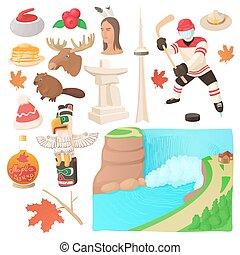 kanada, komplet, styl, rysunek, ikony