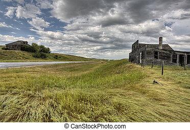 kanada, lantbrukarhem, övergiven, saskatchewan