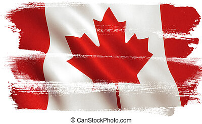 kanada, levél növényen, kanadai, -, lobogó, juharfa