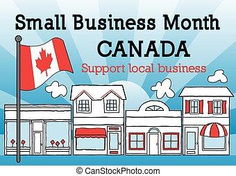 kanada, månad, affär, liten
