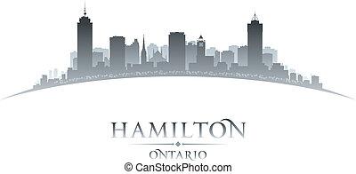 kanada, město, ontario, ilustrace, silhouette., městská silueta, vektor, hamilton