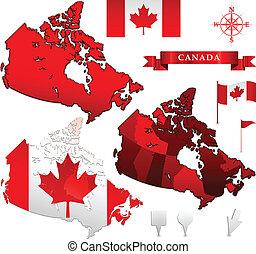 kanada mapa, bandera