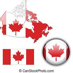 kanada mapa, bandera, guzik