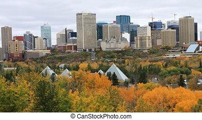 kanada, miasto, edmonton, środek, timelapse, upadek