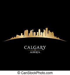 kanada, miasto, ilustracja, silhouette., calgary, sylwetka ...