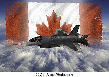 kanada, modern, lopva, lobogó, flighter, f-35