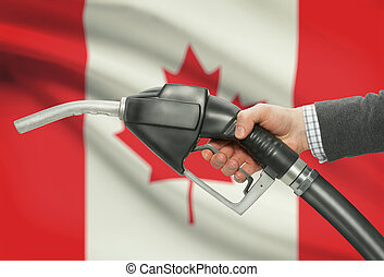 kanada, munstycke, -, flagga, hand, pump, bakgrund, ...