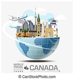 kanada, resa, global, infographic, resa, gränsmärke