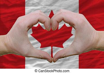 kanada, serce, pokaz, robiony, miłość, na, bandera, siła robocza, symbol, gest