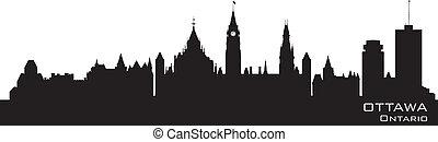 kanada, skyline., ausführlich, ottawa, silhouette