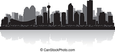 kanada, stadt, silhouette, skyline, vektor, calgary