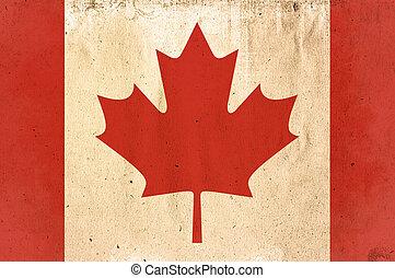 kanada, stil, gammal, -, slitet, flagga, papper