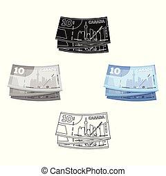 kanada, styl, rysunek, kanadyjski symbol, web., ilustracja, jednorazowy, wektor, dollar., ikona, pień