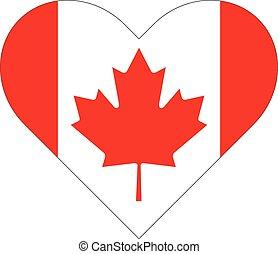 kanada, szív, lobogó, alakú