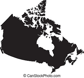 kanada, térkép, vektor, ábra