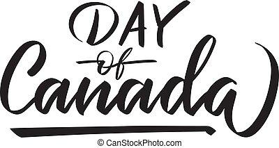 kanada, textning, -, 1, dag, vektor, juli, skrift