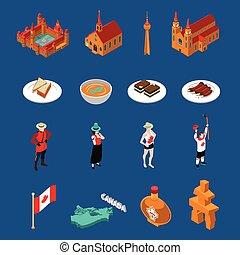 kanada, touristic, állhatatos, ikonok