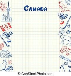 kanada, zbiór, symbolika, pióro, wektor, doodles, pociągnięty