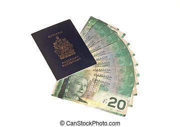 kanadai, útlevél, és, kanadai, pénz