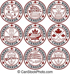 kanadai, jégkorong, bélyeg, set.