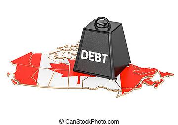 kanadai, nemzeti, adósság, vagy, költségvetés, hiány, anyagi, krízis, fogalom, 3, vakolás