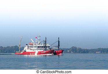 kanadensare, kustbevakning, skepp, in, den, st-lawrence,...