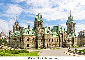 kanadensisk riksdag, byggnad, (gothic, nypremiär, style),...