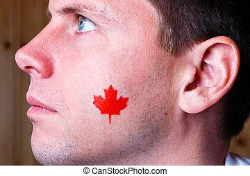 kanadisches kennzeichen, auf, der, gesicht, von, junger mann
