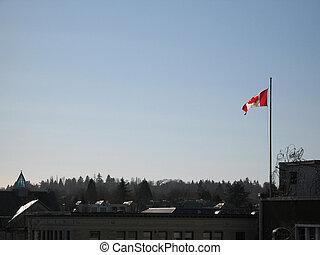 kanadisches kennzeichen, in, der, blauer himmel