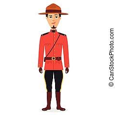 kanadyjczyk, policjant, odizolowany, ilustracja, jednolity, tradycyjny, wektor, tło, biały, rysunek