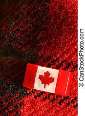 kanadyjczyk, wtykać, szpilka, na, czerwony, wełniany, pled, tworzywo