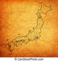 kanagawa prefecture on administration map of japan