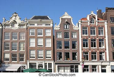 kanal, amsterdam, häusser