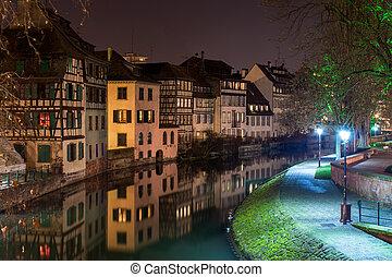 kanal, bereich, strassburg, zierlich, -, frankreich, elsaß