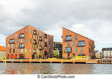 kanal, dänemark, entlang, kopenhagen, häusser