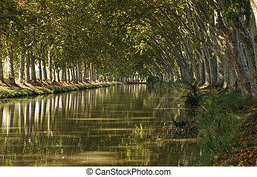 kanal-du-midi, bei, beziers, südlich, frankreich