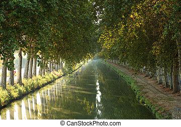 kanal-du-midi, in, beziers, südlich, frankreich