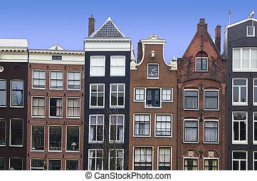 kanal, häusser, in, amsterdam, der, niederlande