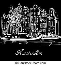 kanal, häusser, vektor, niederländisch, amsterdam, typisch