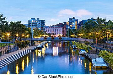 kanal, helsinki, ruoholahti, finnland