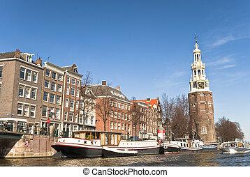 kanal, in, amsterdam, in, der, nachmittag