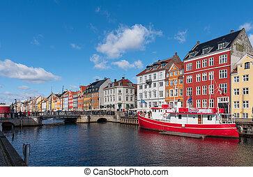 kanal, moored, groß, rotes , kopenhagen, boot