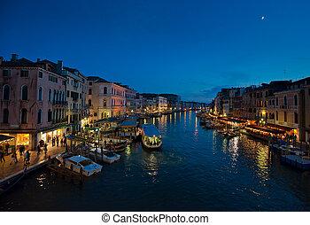 kanal, nacht, großartig, italien, venedig