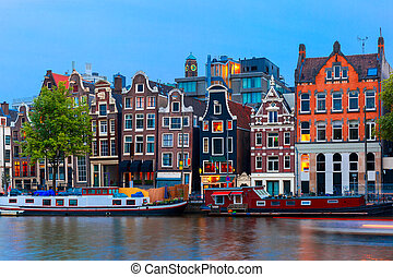 kanal, nacht, niederländisch, amsterdam, ansicht, stadt, häusser