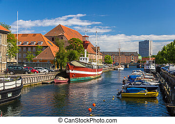kanal, stadtzentrum, kopenhagen, dänemark